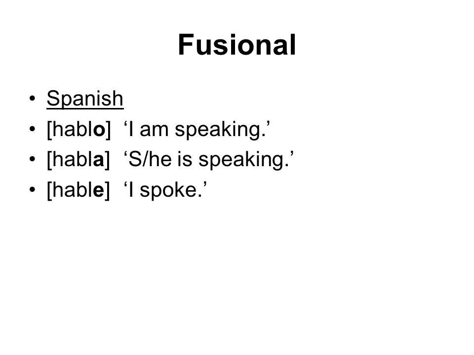 Fusional Spanish [hablo] 'I am speaking.' [habla] 'S/he is speaking.'